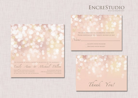 printable gold and blush bokeh wedding invitation, Wedding invitations