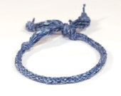 Eco Friendly Blue Bracelet Kumihimo Recycled Fibre Denim Jeans Blue Mens Jewelry
