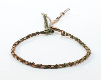 Mens Bracelet Eco Friendly Hemp Kumihimo Camouflage Green & Earthy Brown Mans Jewelry