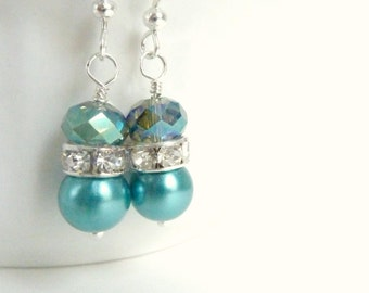 Bridesmaids earrings teal blue pearl earrings silver and teal crystal dangle drops