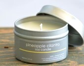Pineapple Cilantro Soy Candle Tin 4 oz. - pineapple candle - cilantro candle - fruit candle - summer candle - fresh scent candle