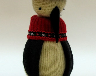 SALE  -  Cream Woollen Penguin - Handmade plush sculpture with woollen body and felt feet and beak - dressed in woollen jacket and felt hat.