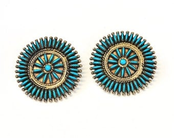 Vintage Zuni Sterling Silver and Turquoise Pettipoint Earrings
