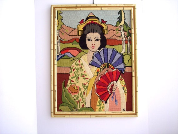 Vintage hollywood regency wall art embroidered geisha girl for Hollywood regency wall decor