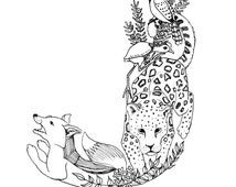 A5 Letter J Animal Art Print