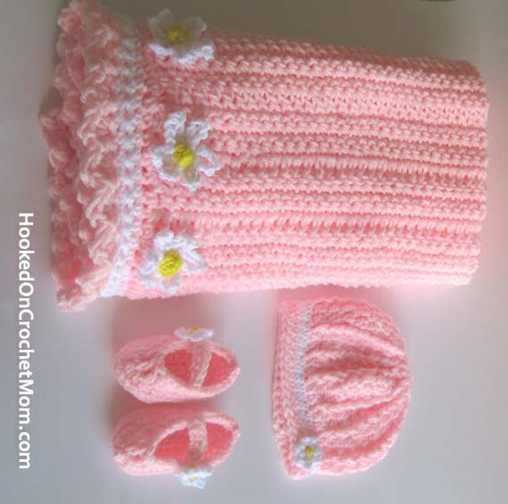 Crochet Baby Blanket Set With Hat And Baby Slippers Perfect