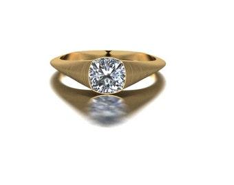Brushed Cushion 1.ct Engagement Ring