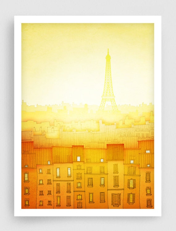 Paris Illustration Morning Hope Vertical Version Fine By