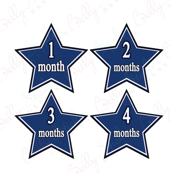 Neutral Monthly Baby Stickers, 1 to 12 Months, Monthly Bodysuit Stickers, Baby Age Stickers,  Blue Star (023-1)