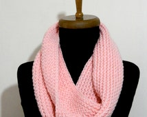 2014 Trend,Winter scarves,Peach Knitted Accessory infinity Scarf Block Infinity Scarf. Loop Scarf, Circle Scarf, Neck Warmer.