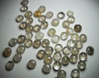 Golden Yellow Rutilated Smokey Quartz Puff Coin Beads 8mm - 9mm