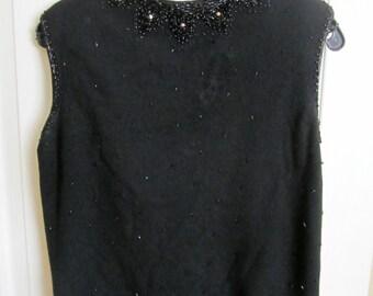 SALE! 1940's Romantic in Black Beaded Rosette Femme Sweater Blouse, Detailed  Beadwork, Mod, Feminine, Sleeveless