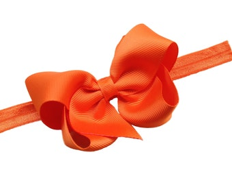 Orange bow headband- orange baby headband, orange newborn headband, orange baby bow headband, orange headband, baby girl headband, halloween