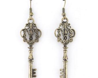 Vintage Simple Vintage Feel Gold Tone Double Sides Crown Key Drop Earrings,C2