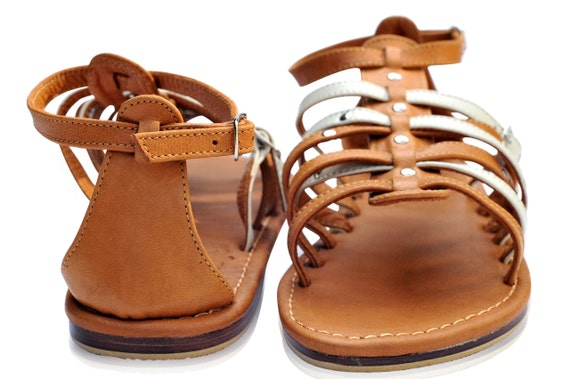 CARINO. Brown leather sandals / womens leather flats / flat sandals / strap sandals. Sizes: US 4-14. Available in different leather colors.