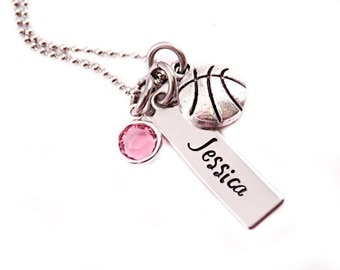 Personalized Sports Necklace - Hand Stamped Jewelry - Basketball Baseball Cheer - Choose Your Sport - Personalized Jewelry - Sports Jewelry