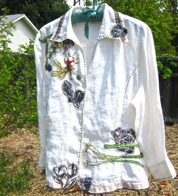 TAILORED CLASSY DESIGNER Shirt, Repurposed Anne Klein, Hand-Stitched Overshirt, Appliqued Cottage Chic, Linen, Hand-Stitching, Eco-Friendly