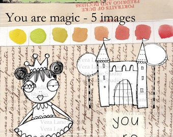 whimsical castle with princess digi stamp set