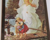 Guardian Angel with children crossing bridge wall plaque