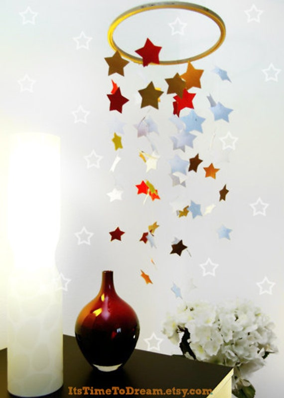 Autumn SALES - Star mobile red & bronze - home decoration - paper mobile - nursery decor - gift ideas