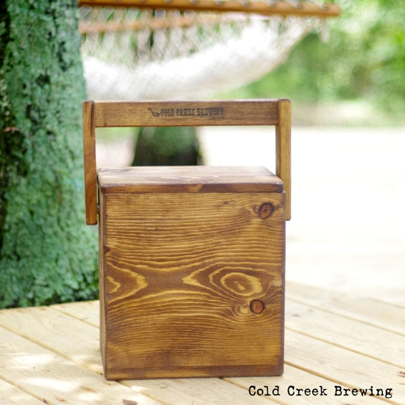 Beer - Igloo - Picnic Cooler - Insulated Carton - Wooden Cooler - Beer Cooler  - Rustic Wood Igloo - Bottle Opener