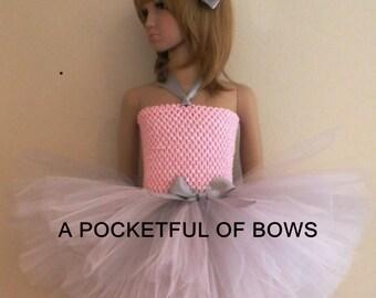 Couture Girls Dress, Silver and Pink Girls Tutu, Girls Pink Tutu Dress