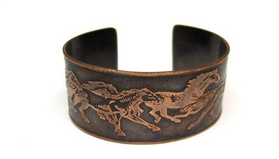 Wild Horses - Etched Cuff Design