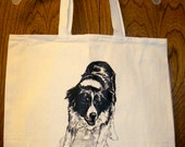 BORDER COLLIE  --  Coming&Going double design X-Large 100% Cotton Canvas Tote Bag
