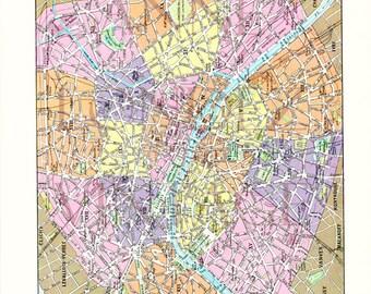 1932 Carte de Paris vintage Carte ancienne de Paris Deco Paris L36PAR