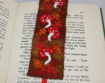 Embroidered and Felted Bookmark - Autumn Toadstools
