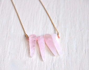 Rose Quartz Dagger Necklace
