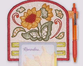 Sunflower Magnetic Applique Embroidered Notepad Holder
