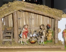 Vintage Christmas Nativity Set - 12 Piece Creche with Stable, Original Box, Handpainted Paper Mache Figures, Wood Stable, Taiwan