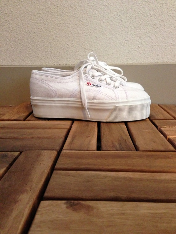 Deadstock Hella 90s Superga White Canvas Platform Lace Up
