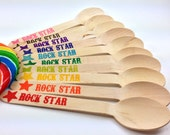 25 Larger Rock Star Wooden Spoons/ Forks / Knives , Wooden Utensils, Wooden Cutlery, Wooden Spoon, Wooden Silverware, Kids Party, Rainbow