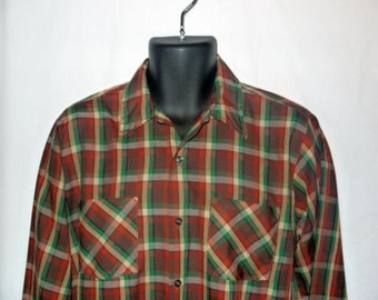 Vintage 60s plaid shirt / mens button up camp / 1960s mad men / mid century dad / Bellcraft long sleeve .... S M chest 44