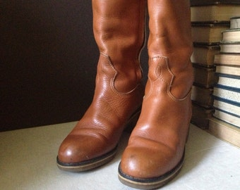 LL Bean Leather Boots,  60s 70s Cognac Brown Leather Knee High Campus Boots Size 7