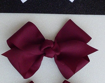 Handmade Grosgrain Bows Aggie Maroon & Other Colors on Alligator Clip
