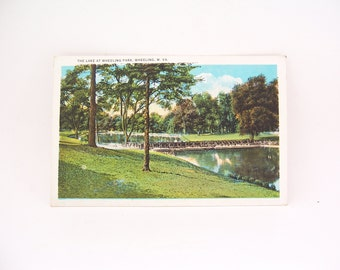 Vintage Postcard The Lake At Wheeling Park  Wheeling W. VA, Collectible Vintage Post Card