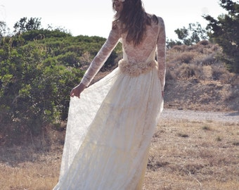 Wedding Dress, Lace Wedding Dress, Ivory Lace Gown, Bohemian Bridal Gown, Long Bridal  Dress, Wedding Gown, Handmade Gown, SuzannaM Designs