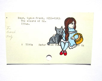 Dorothy and Toto Library Card Art - Print of my painting of Dorothy and Toto on library card catalog card for The Wizard of Oz