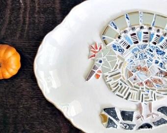 Mosaic Plate, Vintage China, Vintage Plate, Turkey Platter, Thanksgiving Decor, Folk Art, Mosaic Bird, Fall Home Decor, Autumn  Decor