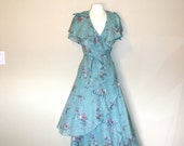 Vintage 1970s Sheer Floral Print Maxi Wrap Dress with Flutter Sleeves - Size Small