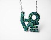"Art Jewelry / love pendant, love sign, love jewelry, polymer clay, OOAK / ""Growing Love"" /"
