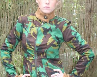 100% Cotton Camouflage Biker Jacket Womens