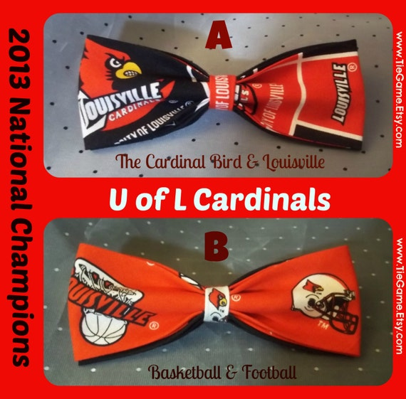 BowTie Made From University of Louisville Fabric - Show Your Cardinal Pride with A Great Looking U of L Bow Tie- U.S. SHIPPlNG ALWAYS 1.99