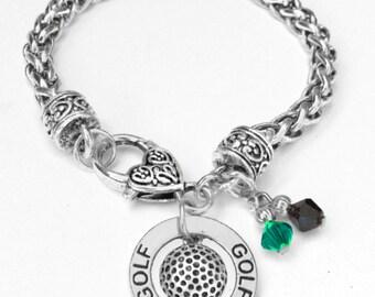 Personalized, Golf Bracelet, Team Color, Swarovski Bracelet, Golf Mom, Golf Jewelry,Golf Coach,Girl Bracelet, Golf Captain,(Made to Order)