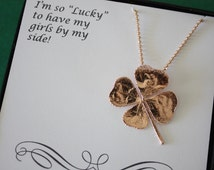 Bridesmaid Necklace 4 Leaf Clover, Real Clover, Gold, Rose Gold, Pink Gold, Yellow, Shamrock, Lucky, Irish, Bridesmaid Gift