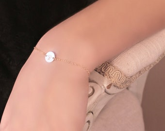 Initial bracelet, 14k Gold Fill tiny custom stamped disc, personalized monogram disc, letter A B C D E F G H I J K L M N O P R S T V W Y Z