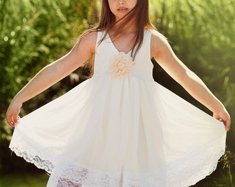 SALE///Ivory Flower Girl Dress with layers of chiffon